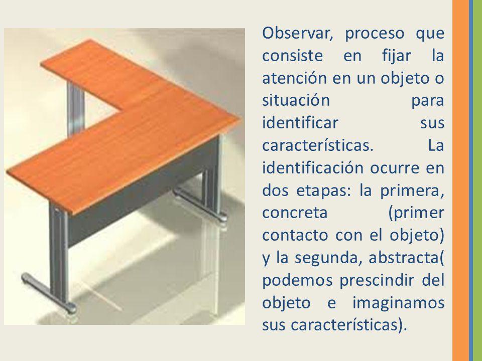 Observar, proceso que consiste en fijar la atención en un objeto o situación para identificar sus características. La identificación ocurre en dos eta