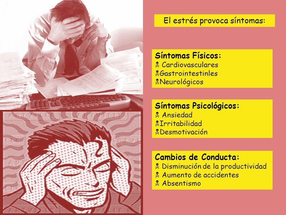 El estrés provoca síntomas: Síntomas Psicológicos: Ansiedad Irritabilidad Desmotivación Cambios de Conducta: Disminución de la productividad Aumento de accidentes Absentismo Síntomas Físicos: Cardiovasculares Gastrointestinles Neurológicos