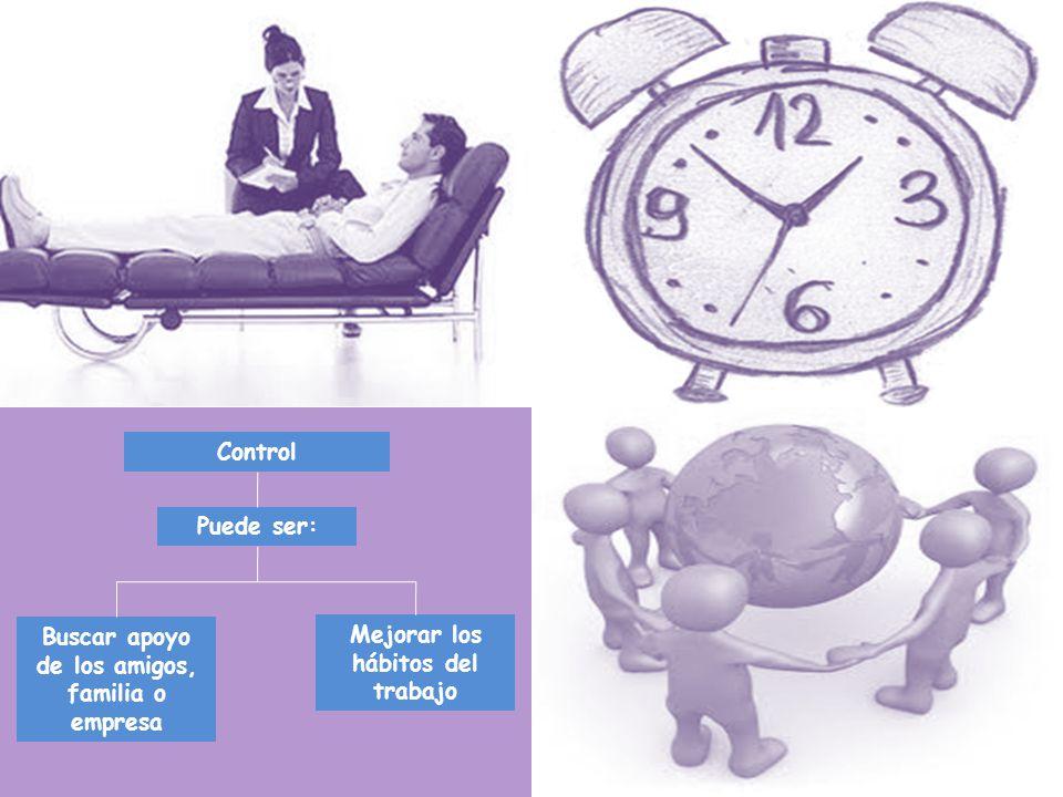 Control Puede ser: Buscar apoyo de los amigos, familia o empresa Mejorar los hábitos del trabajo
