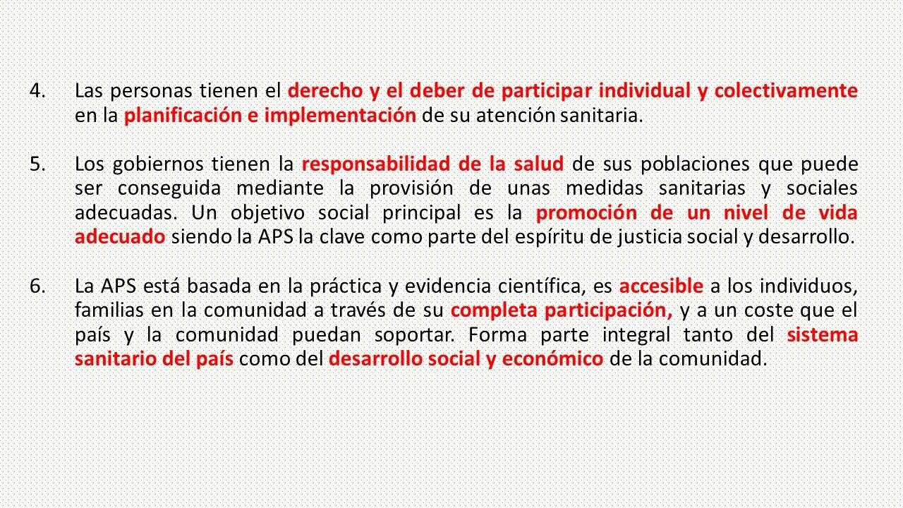4.Las personas tienen el derecho y el deber de participar individual y colectivamente en la planificación e implementación de su atención sanitaria. 5