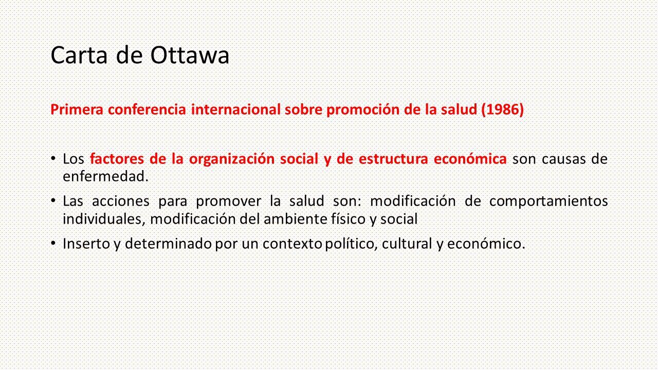Carta de Ottawa Primera conferencia internacional sobre promoción de la salud (1986) Los factores de la organización social y de estructura económica