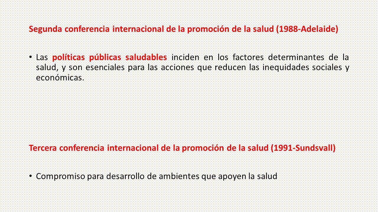 Segunda conferencia internacional de la promoción de la salud (1988-Adelaide) Las políticas públicas saludables inciden en los factores determinantes