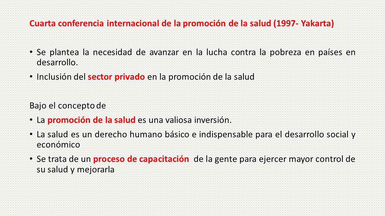 Cuarta conferencia internacional de la promoción de la salud (1997- Yakarta) Se plantea la necesidad de avanzar en la lucha contra la pobreza en paíse