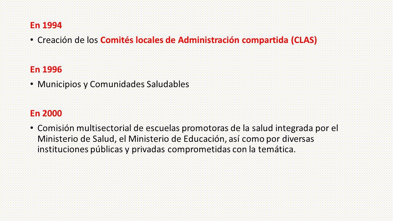 En 1994 Creación de los Comités locales de Administración compartida (CLAS) En 1996 Municipios y Comunidades Saludables En 2000 Comisión multisectoria