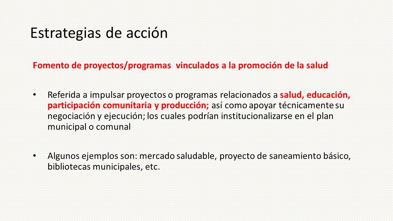 Estrategias de acción Fomento de proyectos/programas vinculados a la promoción de la salud Referida a impulsar proyectos o programas relacionados a sa