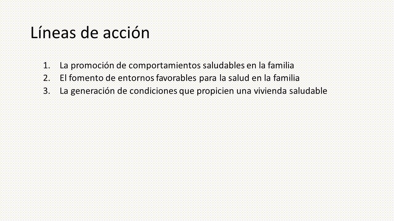 Líneas de acción 1.La promoción de comportamientos saludables en la familia 2.El fomento de entornos favorables para la salud en la familia 3.La gener