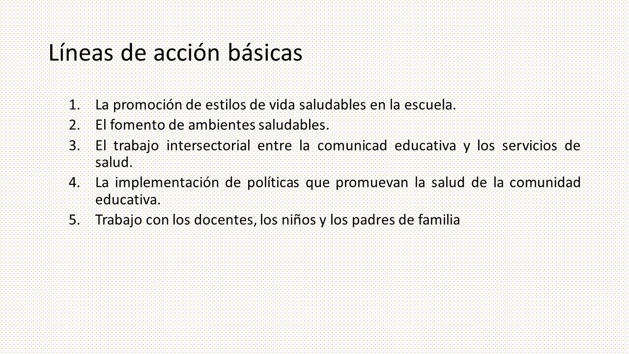 Líneas de acción básicas 1.La promoción de estilos de vida saludables en la escuela. 2.El fomento de ambientes saludables. 3.El trabajo intersectorial