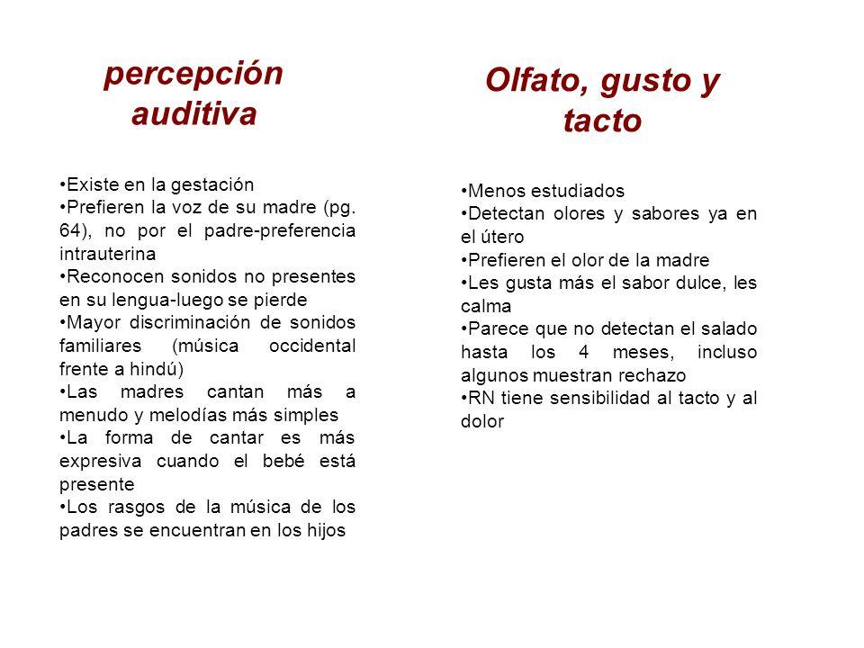 percepción auditiva Existe en la gestación Prefieren la voz de su madre (pg. 64), no por el padre-preferencia intrauterina Reconocen sonidos no presen