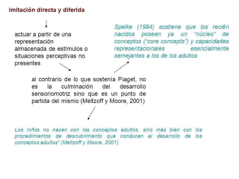imitación directa y diferida Spelke (1994) sostiene que los recién nacidos poseen ya un núcleo de conceptos (core concepts) y capacidades representaci