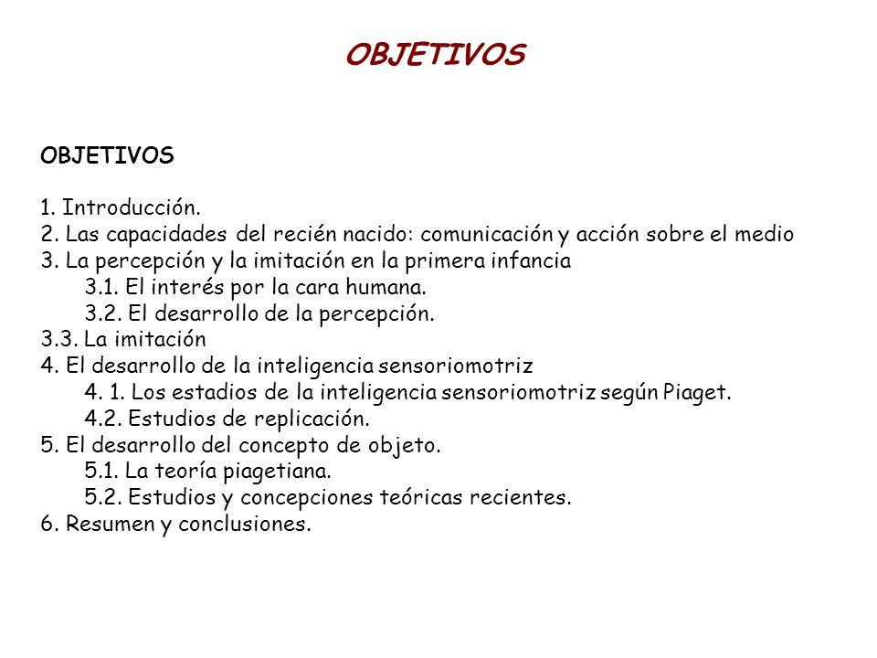 OBJETIVOS 1. Introducción. 2. Las capacidades del recién nacido: comunicación y acción sobre el medio 3. La percepción y la imitación en la primera in