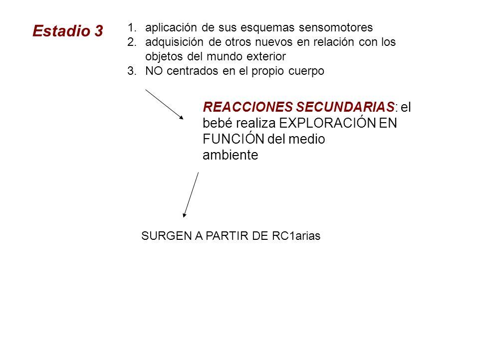 Estadio 3 1.aplicación de sus esquemas sensomotores 2.adquisición de otros nuevos en relación con los objetos del mundo exterior 3.NO centrados en el