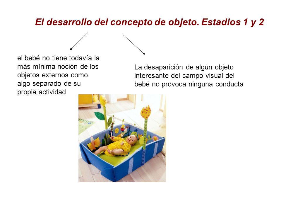 El desarrollo del concepto de objeto. Estadios 1 y 2 el bebé no tiene todavía la más mínima noción de los objetos externos como algo separado de su pr