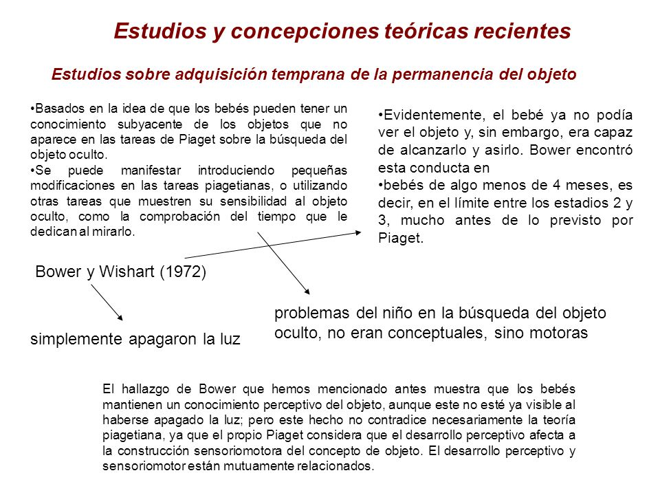 Estudios y concepciones teóricas recientes Estudios sobre adquisición temprana de la permanencia del objeto Basados en la idea de que los bebés pueden