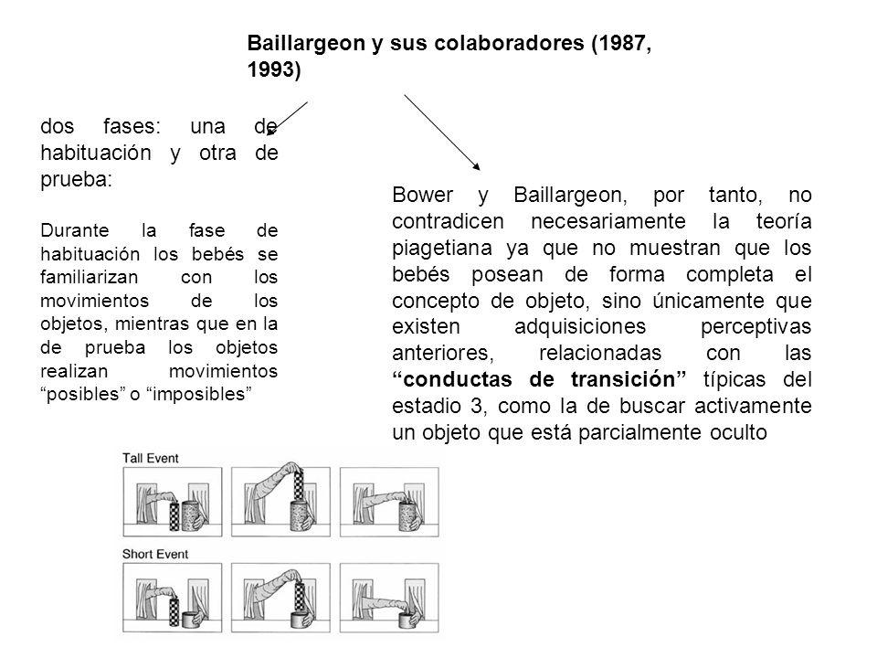 Baillargeon y sus colaboradores (1987, 1993) dos fases: una de habituación y otra de prueba: Durante la fase de habituación los bebés se familiarizan