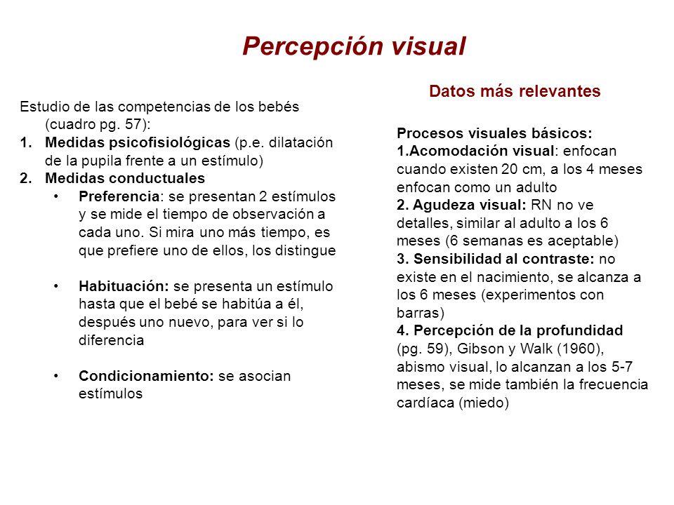 Percepción visual Estudio de las competencias de los bebés (cuadro pg. 57): 1.Medidas psicofisiológicas (p.e. dilatación de la pupila frente a un estí