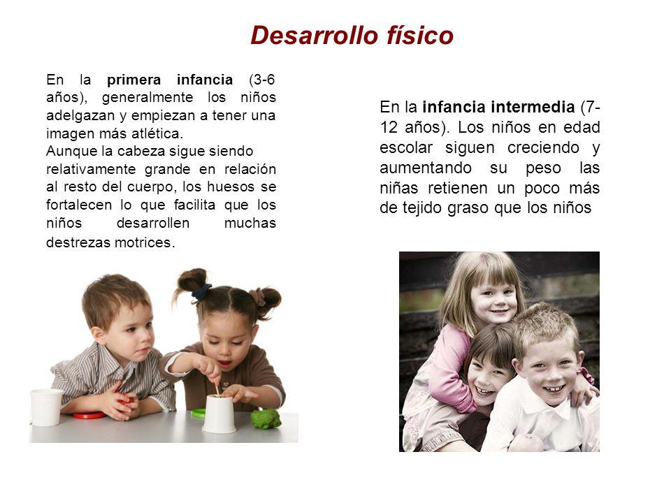 Desarrollo físico En la primera infancia (3-6 años), generalmente los niños adelgazan y empiezan a tener una imagen más atlética. Aunque la cabeza sig