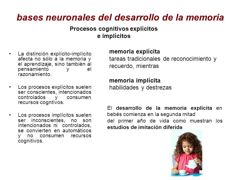 bases neuronales del desarrollo de la memoria La distinción explícito-implícito afecta no sólo a la memoria y el aprendizaje, sino también al pensamie