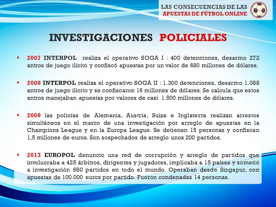 INVESTIGACIONES POLICIALES 2007 INTERPOL realiza el operativo SOGA I : 400 detenciones, desarmo 272 antros de juego ilícito y confiscó apuestas por un valor de 680 millones de dólares.