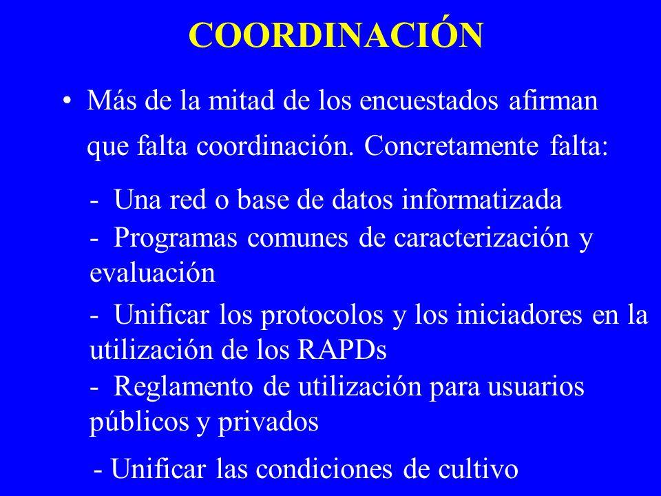 COORDINACIÓN Más de la mitad de los encuestados afirman que falta coordinación. Concretamente falta: - Una red o base de datos informatizada - Program