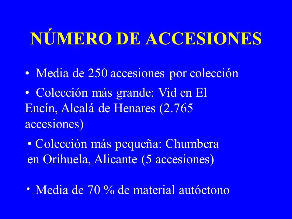 NÚMERO DE ACCESIONES Media de 250 accesiones por colección Colección más grande: Vid en El Encín, Alcalá de Henares (2.765 accesiones) Colección más p