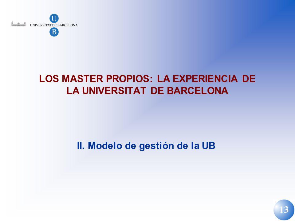 13 LOS MASTER PROPIOS: LA EXPERIENCIA DE LA UNIVERSITAT DE BARCELONA II. Modelo de gestión de la UB
