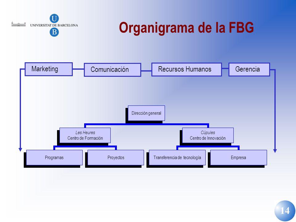 14 Organigrama de la FBG Marketing Comunicación Recursos Humanos Gerencia