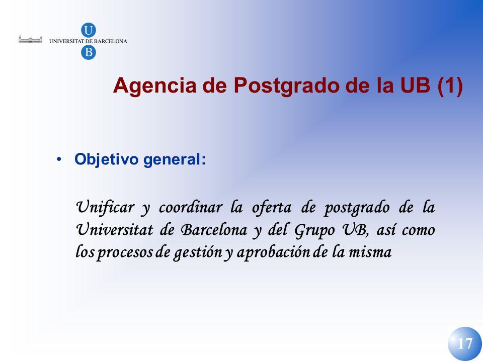 17 Agencia de Postgrado de la UB (1) Objetivo general: Unificar y coordinar la oferta de postgrado de la Universitat de Barcelona y del Grupo UB, así
