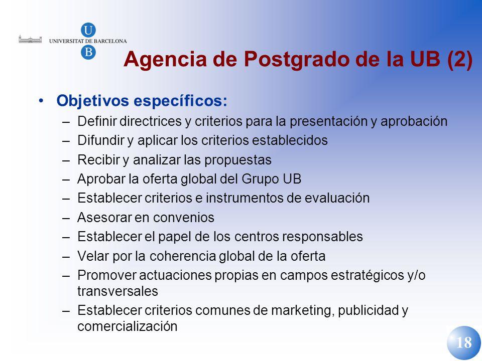 18 Agencia de Postgrado de la UB (2) Objetivos específicos: –Definir directrices y criterios para la presentación y aprobación –Difundir y aplicar los