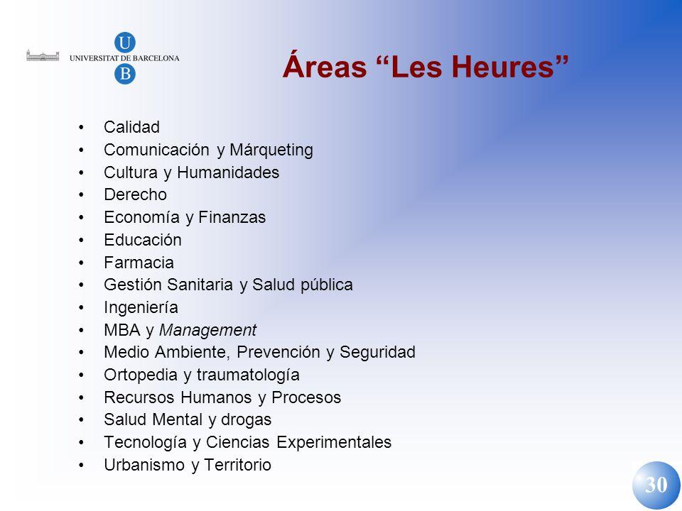 30 Áreas Les Heures Calidad Comunicación y Márqueting Cultura y Humanidades Derecho Economía y Finanzas Educación Farmacia Gestión Sanitaria y Salud p