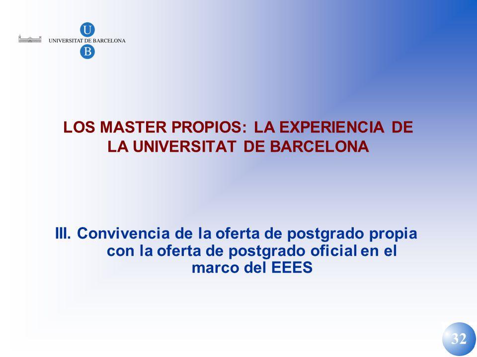 32 LOS MASTER PROPIOS: LA EXPERIENCIA DE LA UNIVERSITAT DE BARCELONA III. Convivencia de la oferta de postgrado propia con la oferta de postgrado ofic