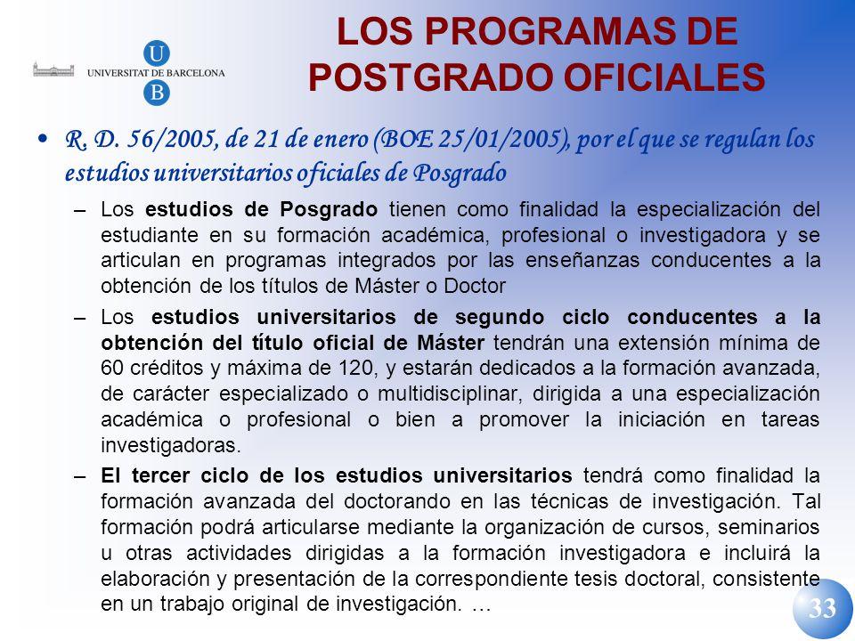 33 LOS PROGRAMAS DE POSTGRADO OFICIALES R. D. 56/2005, de 21 de enero (BOE 25/01/2005), por el que se regulan los estudios universitarios oficiales de