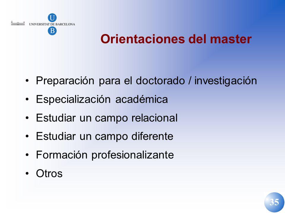 35 Orientaciones del master Preparación para el doctorado / investigación Especialización académica Estudiar un campo relacional Estudiar un campo dif