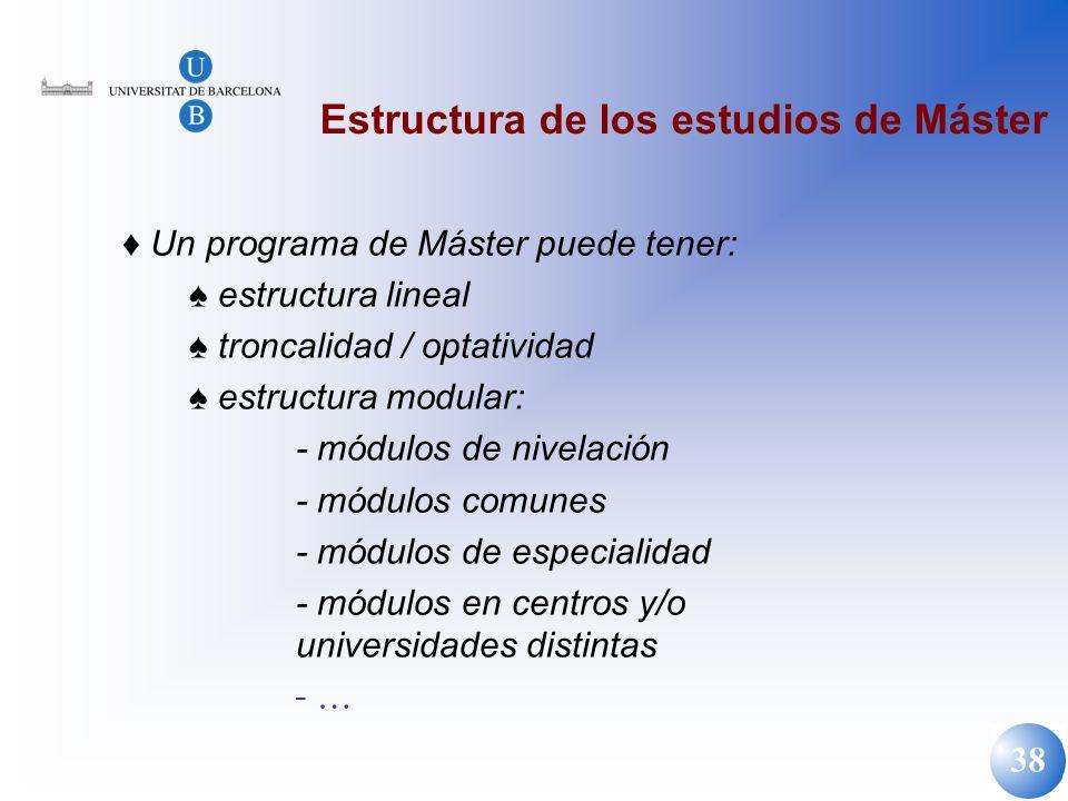 38 Estructura de los estudios de Máster Un programa de Máster puede tener: estructura lineal troncalidad / optatividad estructura modular: - módulos d