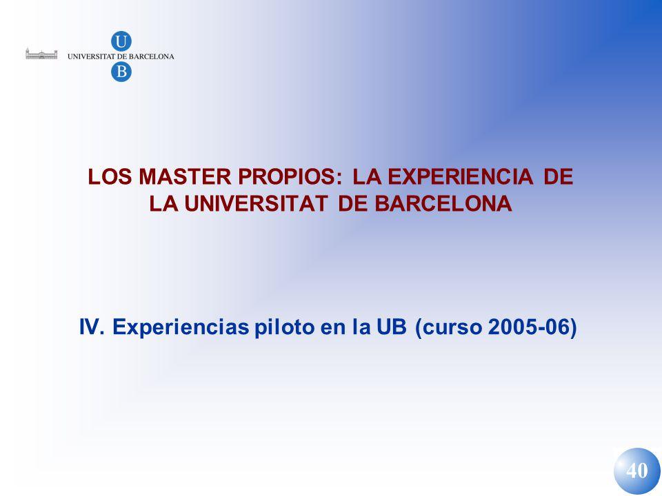 40 LOS MASTER PROPIOS: LA EXPERIENCIA DE LA UNIVERSITAT DE BARCELONA IV. Experiencias piloto en la UB (curso 2005-06)