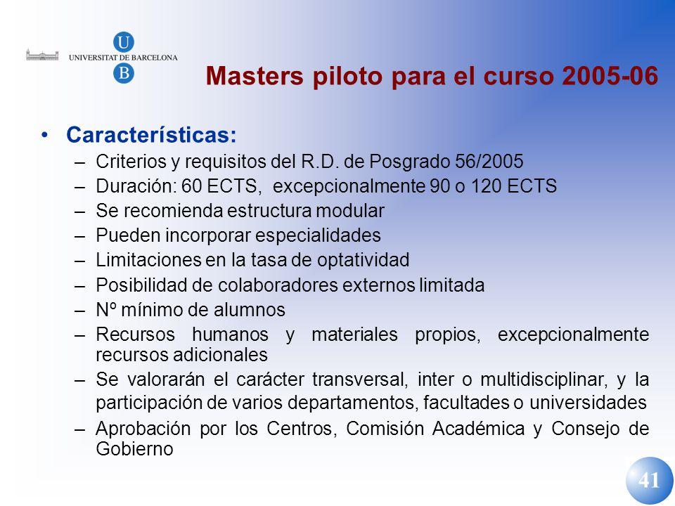 41 Masters piloto para el curso 2005-06 Características: –Criterios y requisitos del R.D. de Posgrado 56/2005 –Duración: 60 ECTS, excepcionalmente 90
