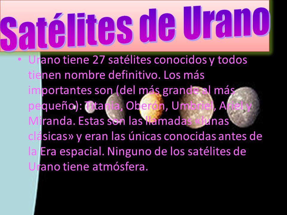 Urano tiene 27 satélites conocidos y todos tienen nombre definitivo. Los más importantes son (del más grande al más pequeño): Titania, Oberón, Umbriel
