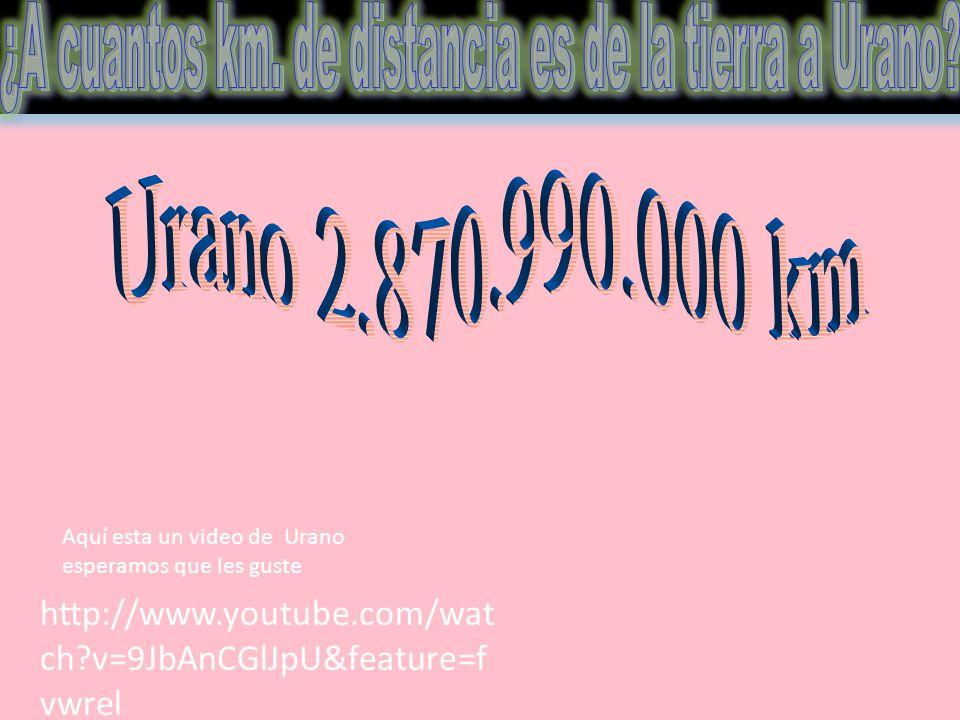 http://www.youtube.com/wat ch?v=9JbAnCGlJpU&feature=f vwrel Aquí esta un video de Urano esperamos que les guste