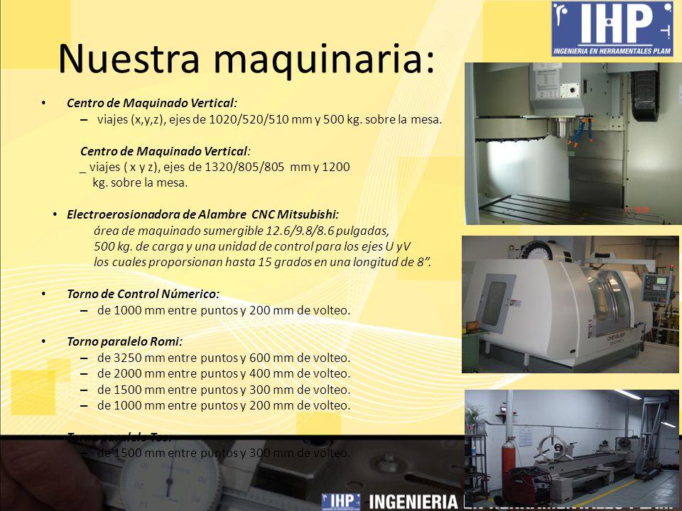 Nuestra maquinaria: Centro de Maquinado Vertical: – viajes (x,y,z), ejes de 1020/520/510 mm y 500 kg. sobre la mesa. Centro de Maquinado Vertical: _ v