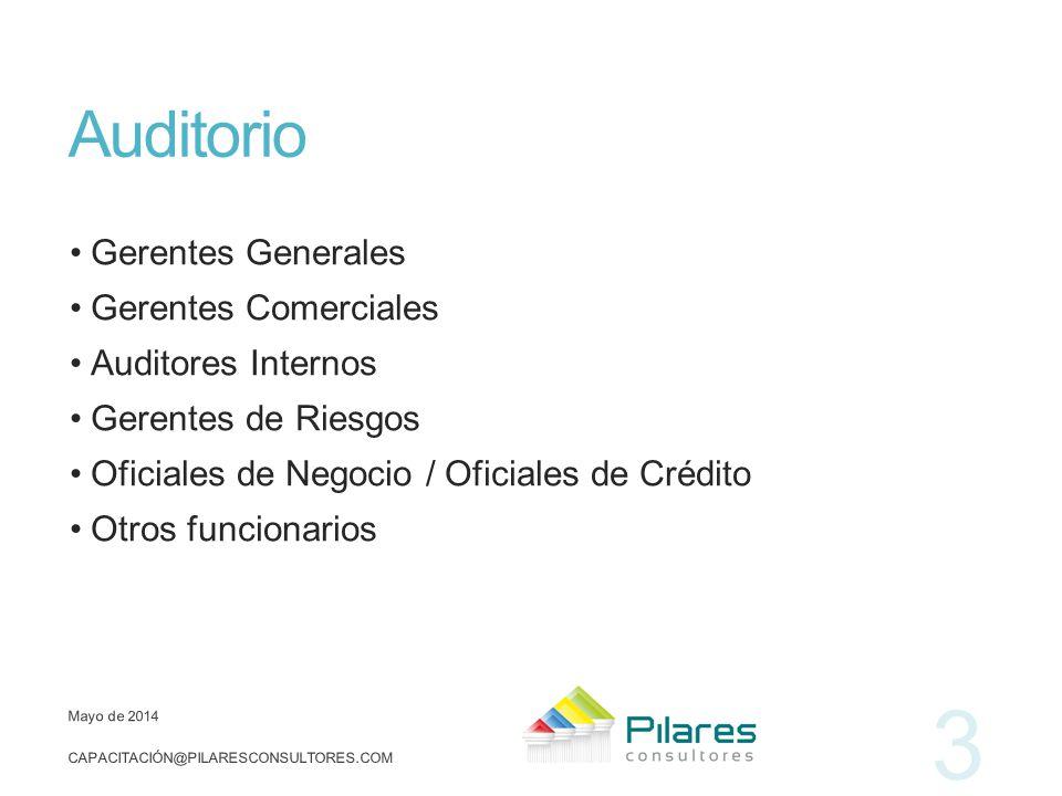 Auditorio Gerentes Generales Gerentes Comerciales Auditores Internos Gerentes de Riesgos Oficiales de Negocio / Oficiales de Crédito Otros funcionario