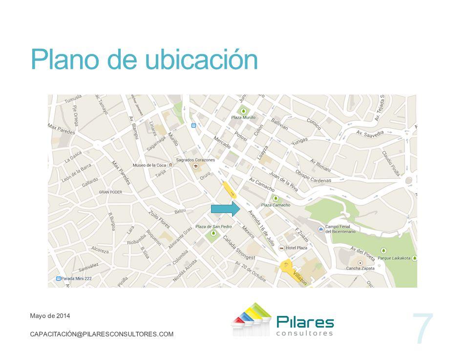 Plano de ubicación Mayo de 2014 CAPACITACIÓN@PILARESCONSULTORES.COM 7
