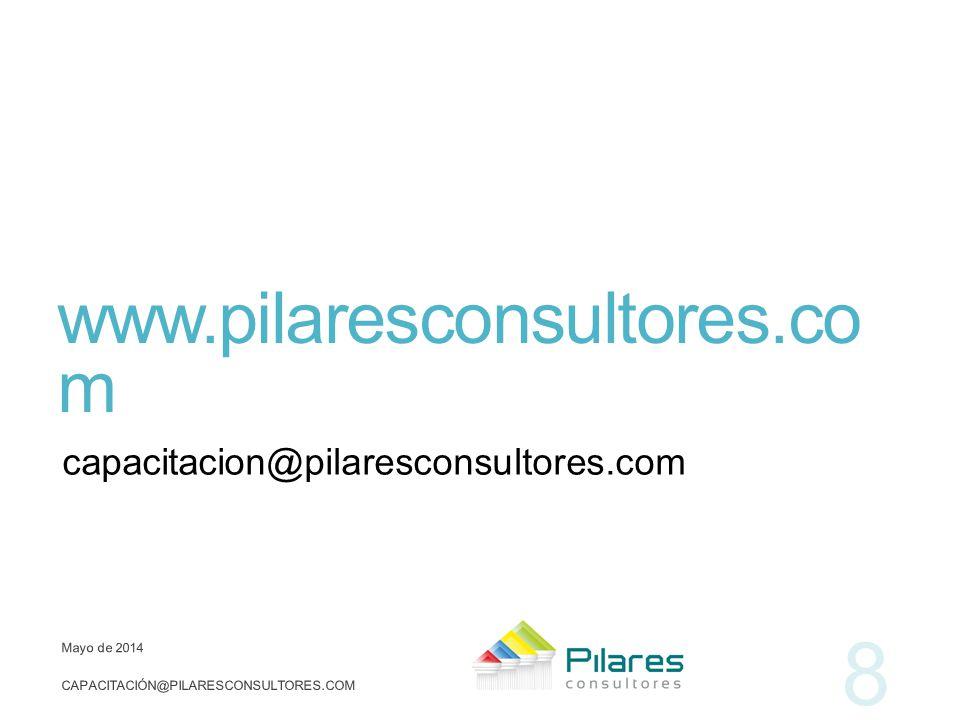 www.pilaresconsultores.co m capacitacion@pilaresconsultores.com Mayo de 2014 CAPACITACIÓN@PILARESCONSULTORES.COM 8
