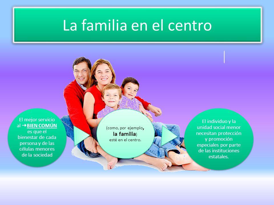 La familia en el centro El mejor servicio al BIEN COMÚN es que el bienestar de cada persona y de las células menores de la sociedad (como, por ejemplo