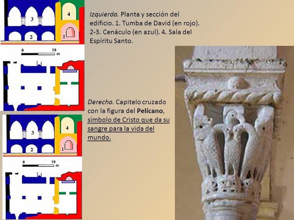 Izquierda. Planta y sección del edificio. 1. Tumba de David (en rojo). 2-3. Cenáculo (en azul). 4. Sala del Espíritu Santo. Derecha. Capitelo cruzado