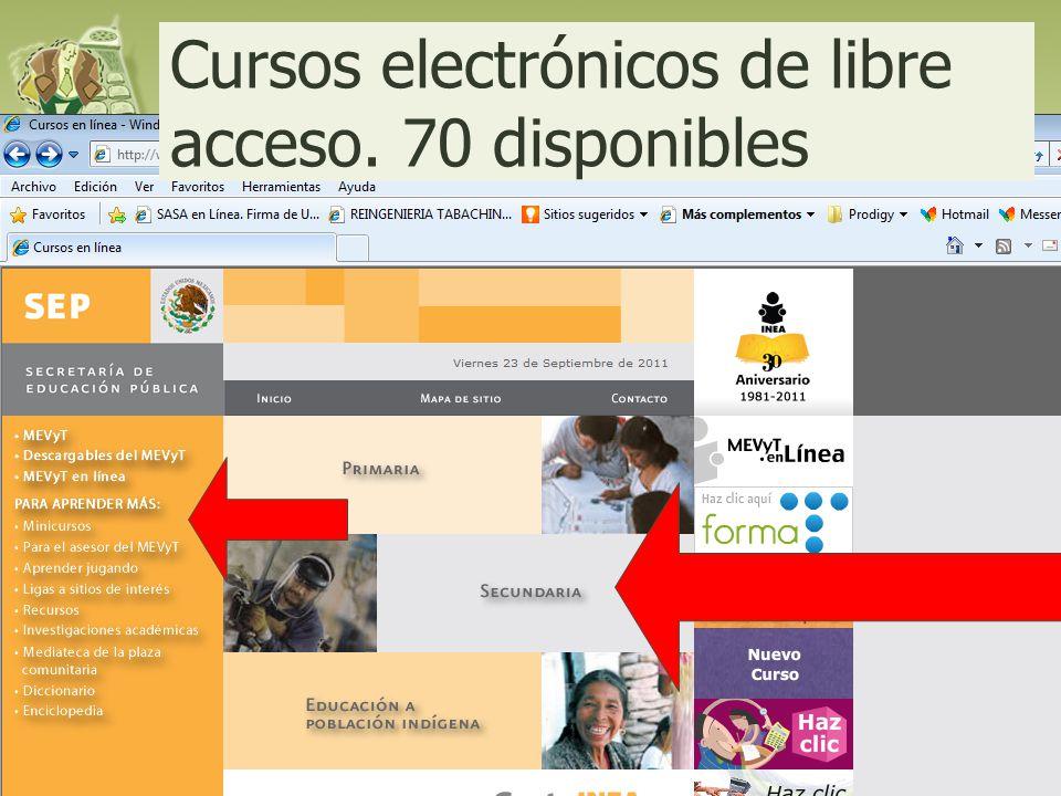 Cursos electrónicos de libre acceso. 70 disponibles