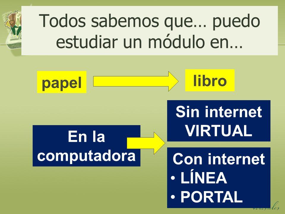Todos sabemos que… puedo estudiar un módulo en… papel libro En la computadora Con internet LÍNEA PORTAL Sin internet VIRTUAL