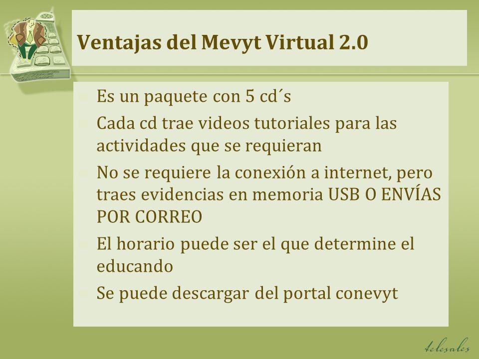 Ventajas del Mevyt Virtual 2.0 Es un paquete con 5 cd´s Cada cd trae videos tutoriales para las actividades que se requieran No se requiere la conexió