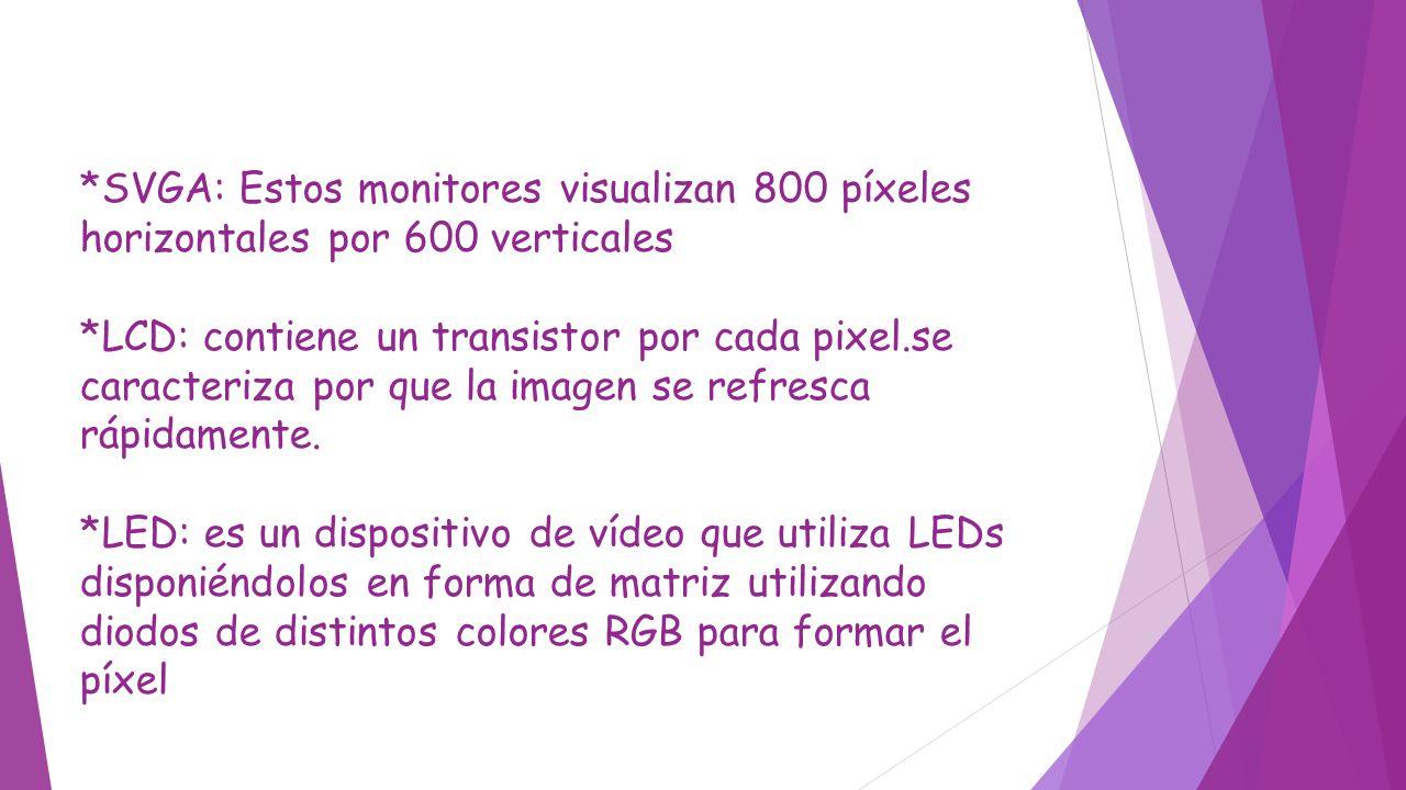 *SVGA: Estos monitores visualizan 800 píxeles horizontales por 600 verticales *LCD: contiene un transistor por cada pixel.se caracteriza por que la im