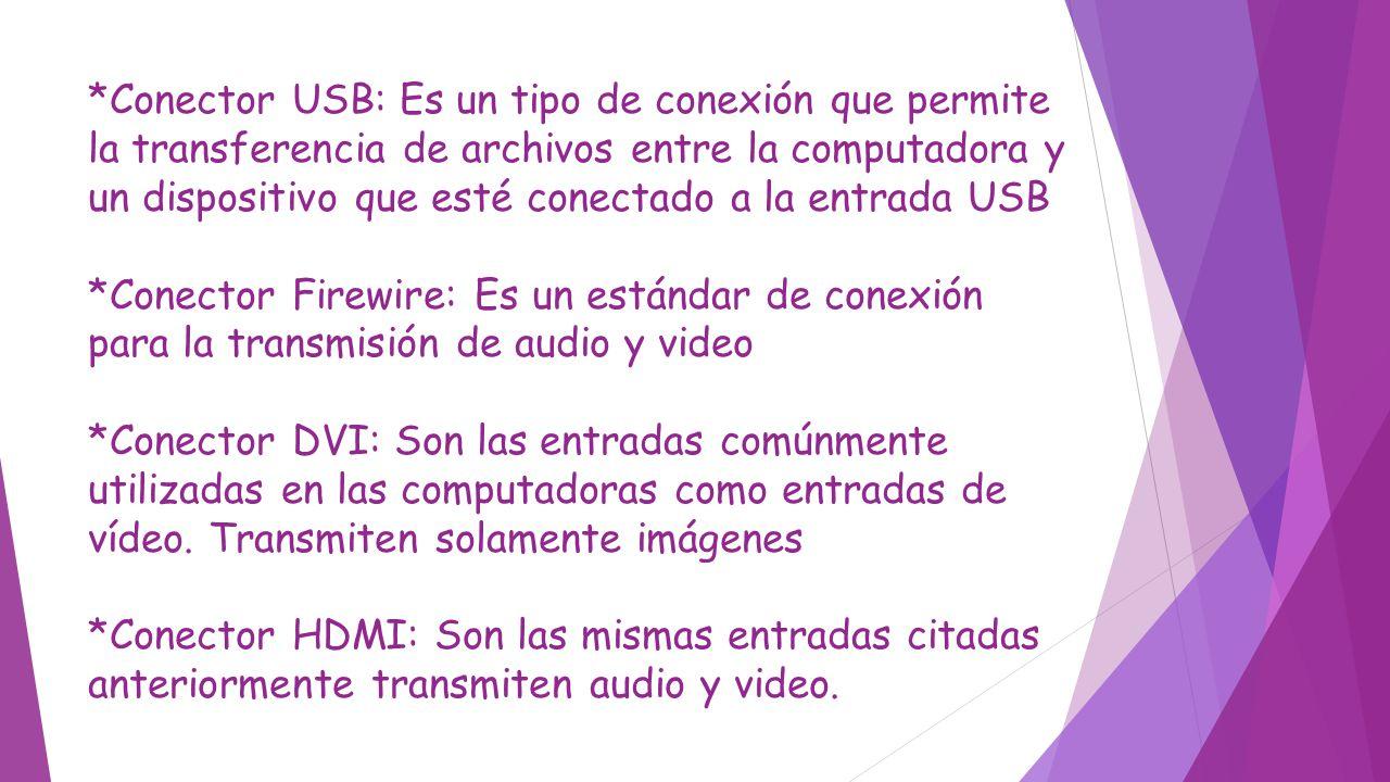 *Conector USB: Es un tipo de conexión que permite la transferencia de archivos entre la computadora y un dispositivo que esté conectado a la entrada U