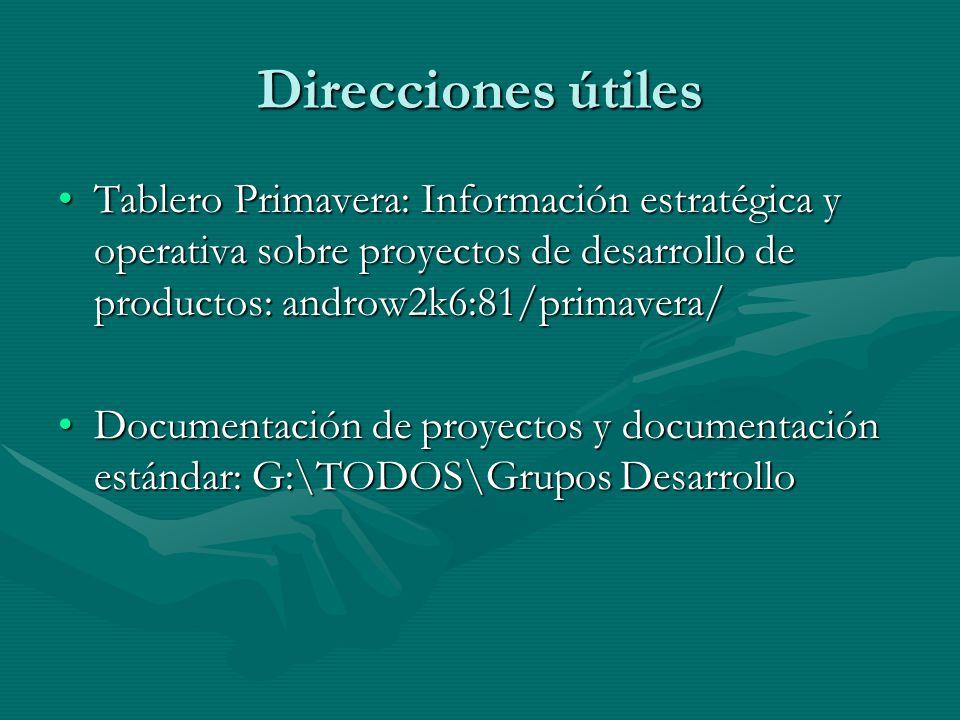 Direcciones útiles Tablero Primavera: Información estratégica y operativa sobre proyectos de desarrollo de productos: androw2k6:81/primavera/Tablero P
