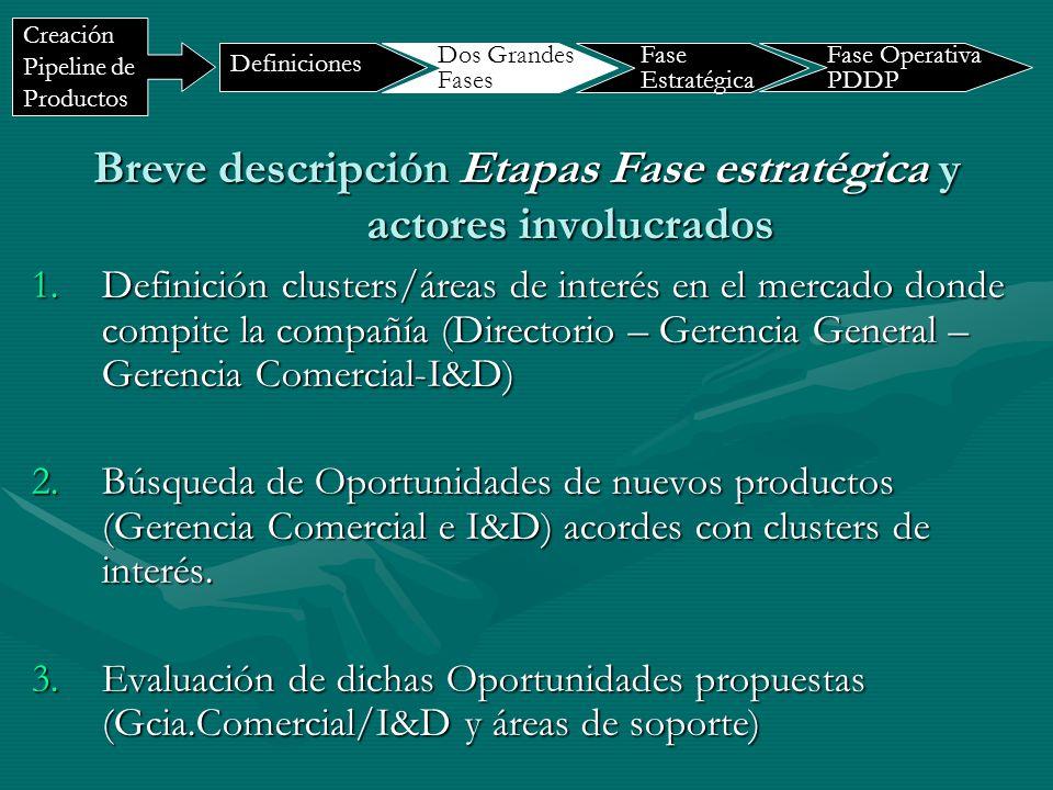 Breve descripción Etapas Fase estratégica y actores involucrados 1.Definición clusters/áreas de interés en el mercado donde compite la compañía (Direc